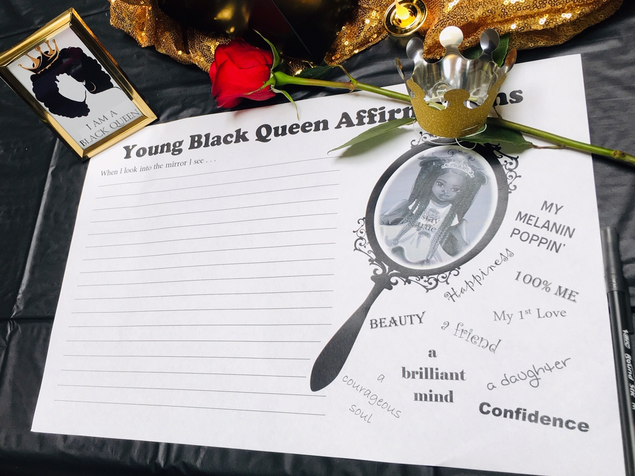 Young black queen affirmations